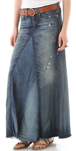 Stylmee - True Religion Dakota Denim Maxi Skirt $332 #fashiongame #fashion