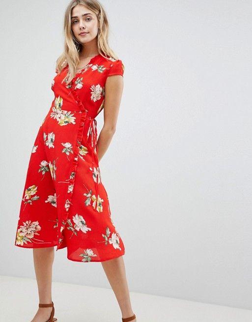 947e79638001 Boohoo | Boohoo Floral Pleat Trim Wrap Midi Dress | Clothes ...