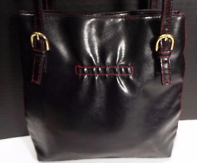 Victoria's Secret Black Handbag Purse Red Trim Accent Adjustable Strap Hand Bag