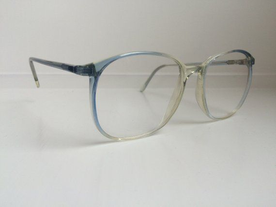 Vintage Blue Eyeglass Frames – Oversized Eyeglasses – Girard Gradient Ombre Blue Clear Glasses – Clear Lens Demo Lenses Deadstock NOS 45 – Products
