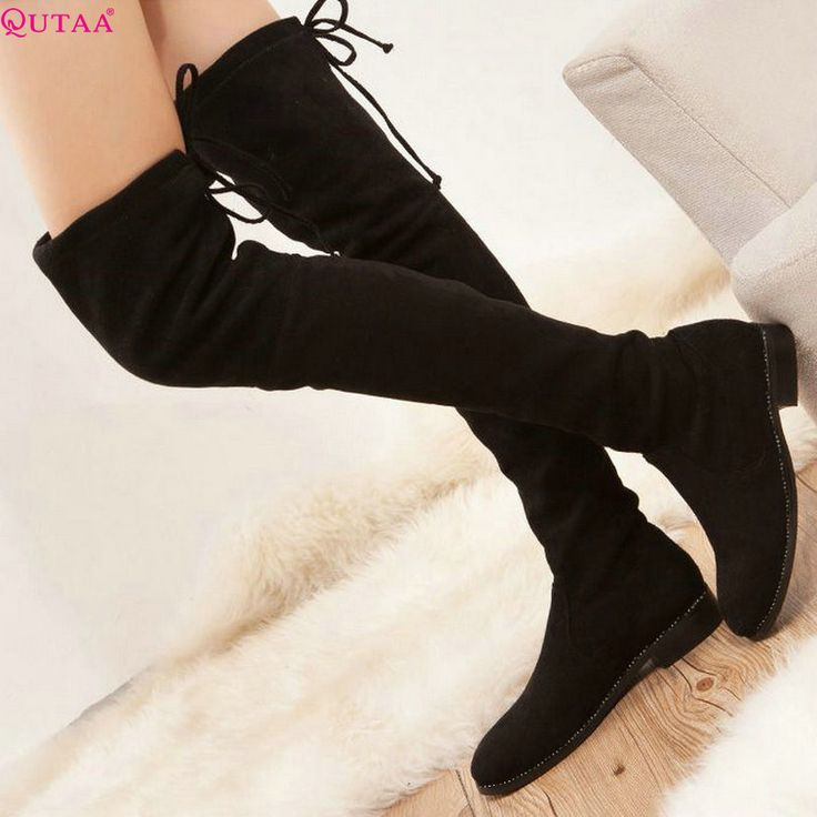 QUTAA 2017 Square Low Heel Woman Stretch Fabric Over The Knee Boots Women Shoes Bow Tie Ladies Motorcycle Boots Size 34-43