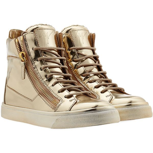 Giuseppe Zanotti Patent Leather High-Top Sneakers (2.025 RON) ❤ liked on Polyvore featuring shoes, sneakers, sapatos, gold, white high tops, white high top shoes, metallic sneakers, hi tops and high top zipper sneakers