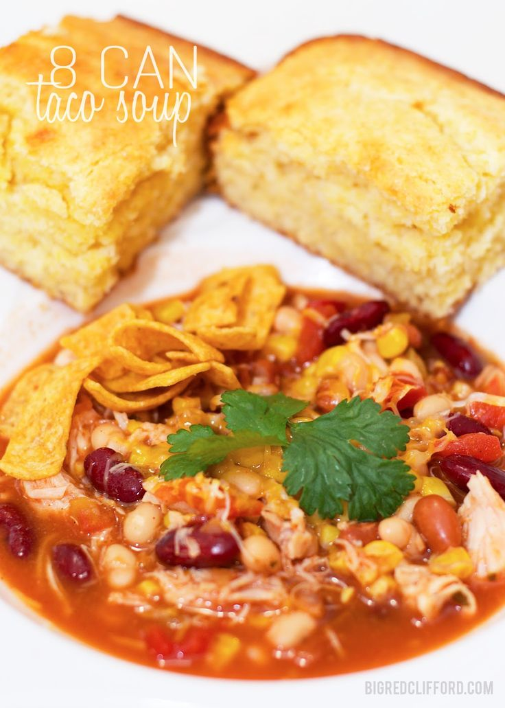 Easiest Taco Soup Recipe: 8 cans in a crockpot. Done. Soo good!