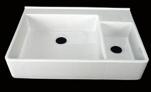 "35"" w apron front kitchen sink with smaller side bowel site notes: ""Garbage disposal can be used with these sinks"""