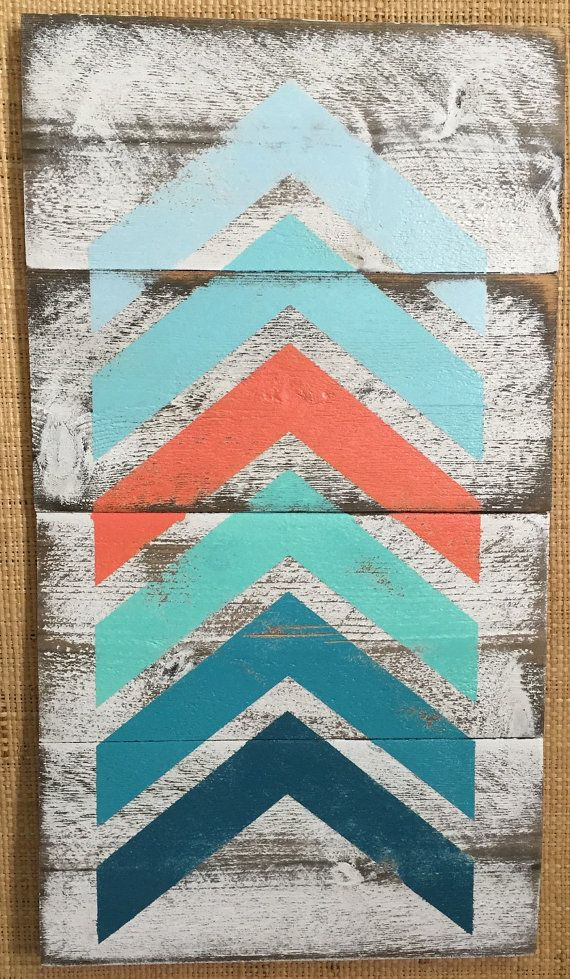 ⊹⊱●Ombré Chevrons Rustic Signs●⊰⊹  These distressed signs are sure to brighten your room and liven your decor. Trendy Chevron sign painted teals