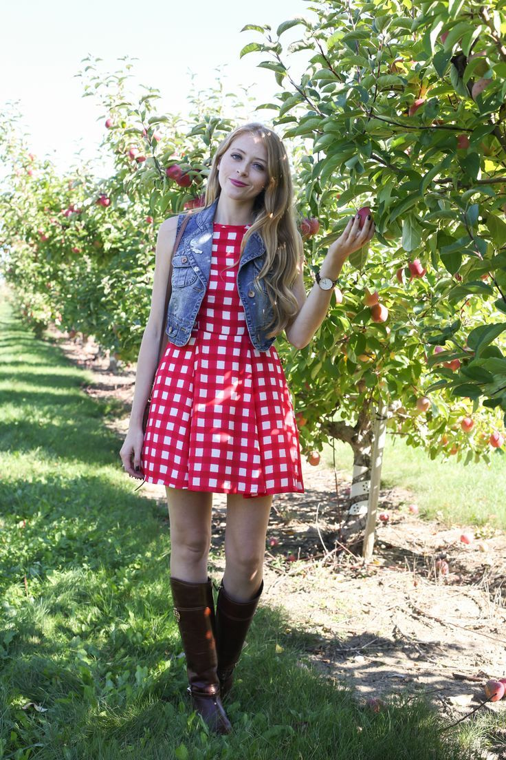 Apple picking outfit: gingham dress and Tory Burch boots