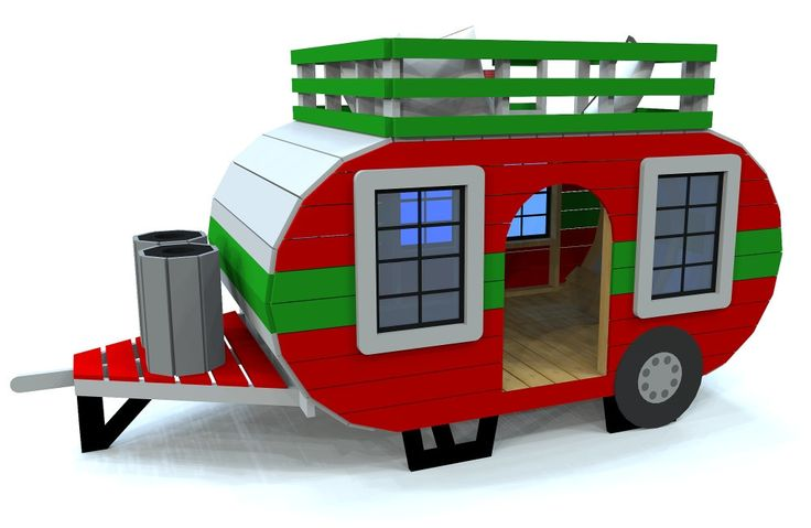 """Happy Camper"" Wooden Trailer 