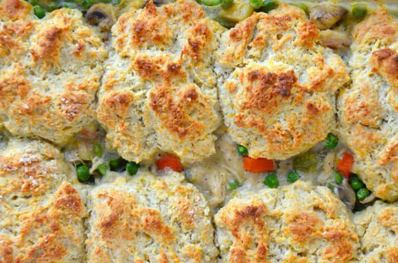 Turkey Pot Pie with Cheddar Biscuit Crust - added jalapeno to the biscuits and corn to the stew