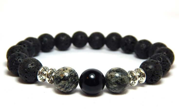 Lava Rock mens strength bracelet is made with a 10mm Volcano Rock, Black Onyx and Zebra Jasper. Earthy and strong. Volcano Rock Properties: A stone of strength, it provides stability in times of chang