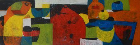 Helen Oprey Table - 2014 Mixed media on canvas 50 x 150 cm  Enquiries: info@19karen.com.au