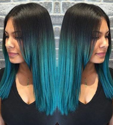Raven Hair with Turquoise Blue Ombre hairstyles