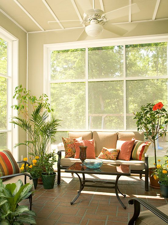 Summer Porch Creating a space to relax and connect with nature was the goal of this simple, sweet porch. Tall windows provide beautiful vistas of the wildlife reserve that borders the property. Potted plants and small trees bring a little of the outdoors inside. Comfy, casual furnishings invite relaxation and conversation.