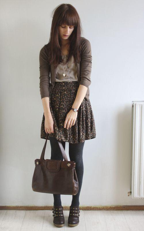 Love the skirt/shirt/sweater combo.