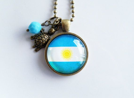 Flag of Argentina Necklace  Argentinian Flag by OxfordBright