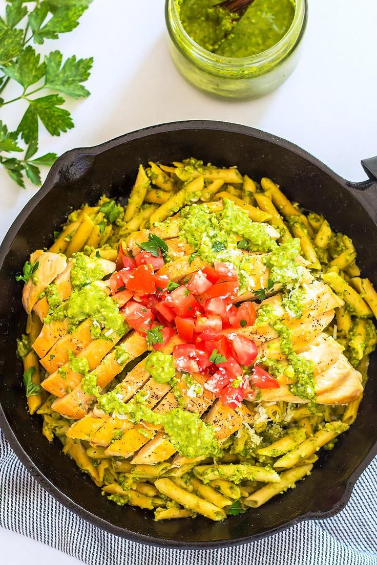 This amazing Pesto Chicken Pasta dish comes together in just 30 minutes which makes it perfect for weeknight dinner. A simple recipe for kale pesto is included but you can also use store-bought pesto to make this meal even quicker. Make it gluten free with Chickapea pasta! Sponsored | Healthy | Easy | Creamy | Kale | Spinach | Tomato | Dairy Free | Meal Prep | Video | Noodles | Penne | No Cream | Comfort Foods | Meals