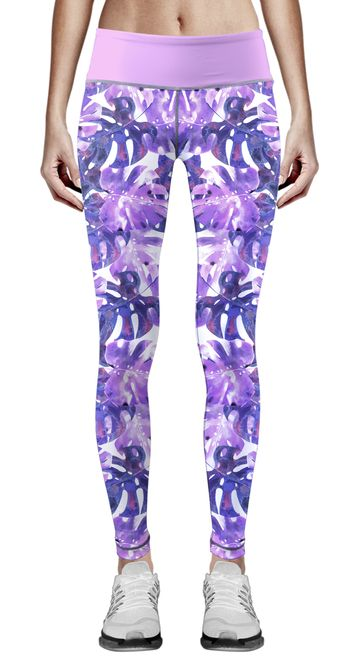 Zipravs Women Purple Palm Leaf Print Tights Sports Suits Cycling Workout Pants Female Fitness Trousers Yoga Leggings