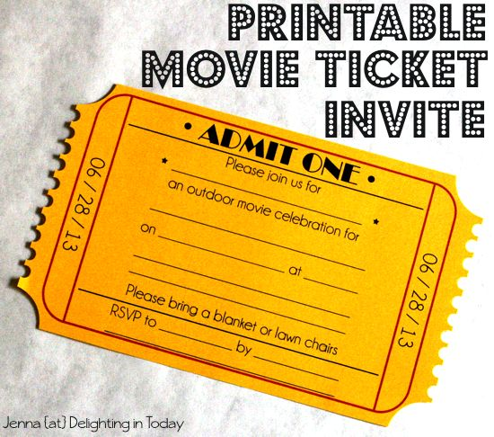 15 best DIY Party Invitations images on Pinterest Birthday parties - free printable movie ticket invitations