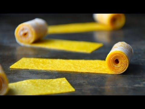 Mango fruit roll ups puree fruit pour on lined baking sheet 175 degree oven for 3-4 hours. put on wax paper then cut strip and roll up