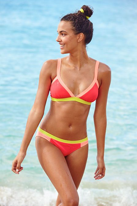 Women's AquaSport Triangle Bikini Swimsuit Top - Colorblock from Lands' End