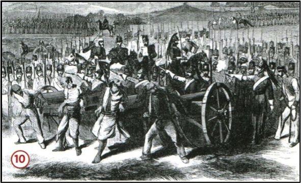 In 1858 werd de Sepoy-Opstand in Brits-Indië (het huidige India, Pakistan en Bangladesj) tegen de Engelsen bedwongen. Op deze tekening is te zien hoe Indiase opstandelingen werden terechtgesteld. Deze manier van executeren namen de Engelsen over van de Indiërs.