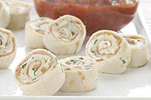 Cream Cheese Tortilla Roll-ups. Can make healthier by using whole wheat tortilla and fat free cream cheese.
