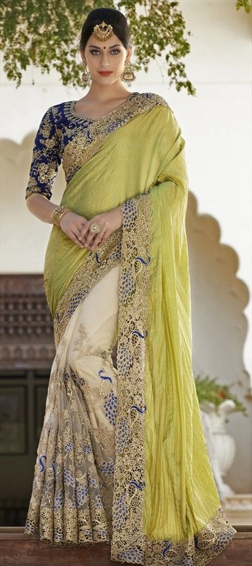 Embrace the beauty of a peacock! 186675 Green, White and Off White colour family Bridal Wedding Sarees in Crushed Silk, Georgette, Net fabric with Border, Fancy Work, Machine Embroidery, Stone work with matching unstitched blouse.