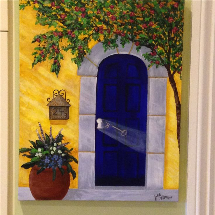 """""""Blue Secrets"""" Have you ever wondered who lives behind the lovely facade of homes?  The key represents the secret lives of those who live behind the door.  Painted in Sept. 2016"""