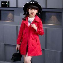 Dívčí bundy Fashion dvouřadové Cotton Coats Brand New Kids trenčkotech pro dívky dlouhé Bundy podzim Dětské oblečení (Čína (pevninská část))