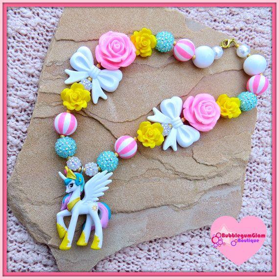 My little pony necklace Celestia Princess by BubblegumGlam on Etsy, $22.00