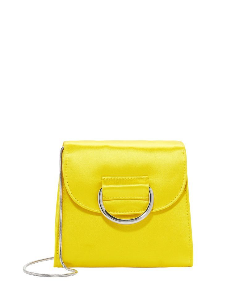 Tiny Box Satin Yellow Bag - This cheery yellow box bag will brighten your look. Front flap magnetic closure. Silver-tone ring detail at flap. Topstitched detailing. Zip interior pocket. Chain strap.