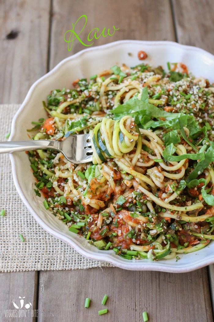 Raw zucchini noodles and veggies - minus hemp seeds