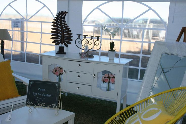 White furniture used in marquee. #rustic #vintage #outback