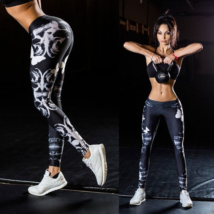 Womens Yoga Workout Gym Print Sports Pants Leggings Fitness Stretch Trousers