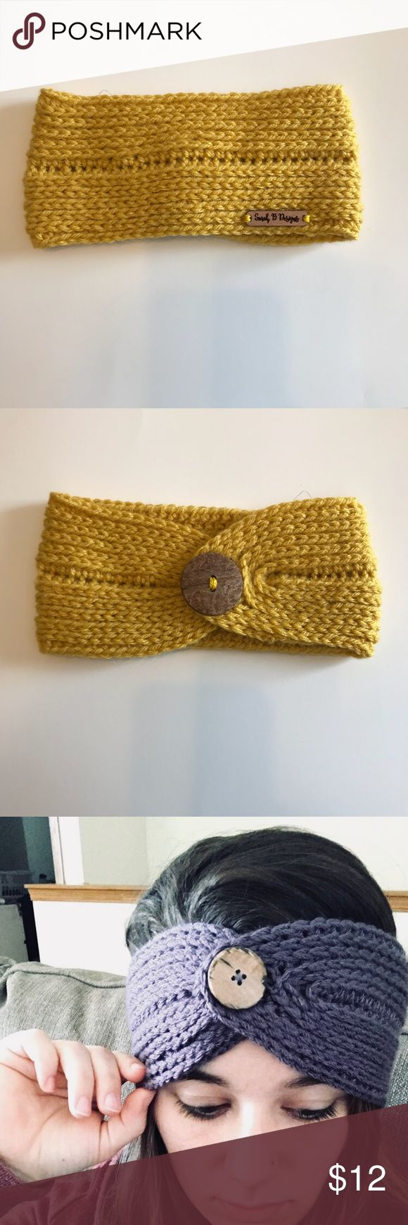 Mustard Yellow Handmade Reversible Earwarmer Hand crocheted REVERSIBLE ear warmer/ head wrap made by me!  Adult size!  Made with high quality yarn Can be worn with the button in the front (shown) or with the button in the back.  Will be shipped out the next business day Smoke free, pet free home!   Last picture is for example only - you will not receive the purple headband! This listing is for the mustard yellow one in the first 2 pics sarahbdesignsco Accessories Hats