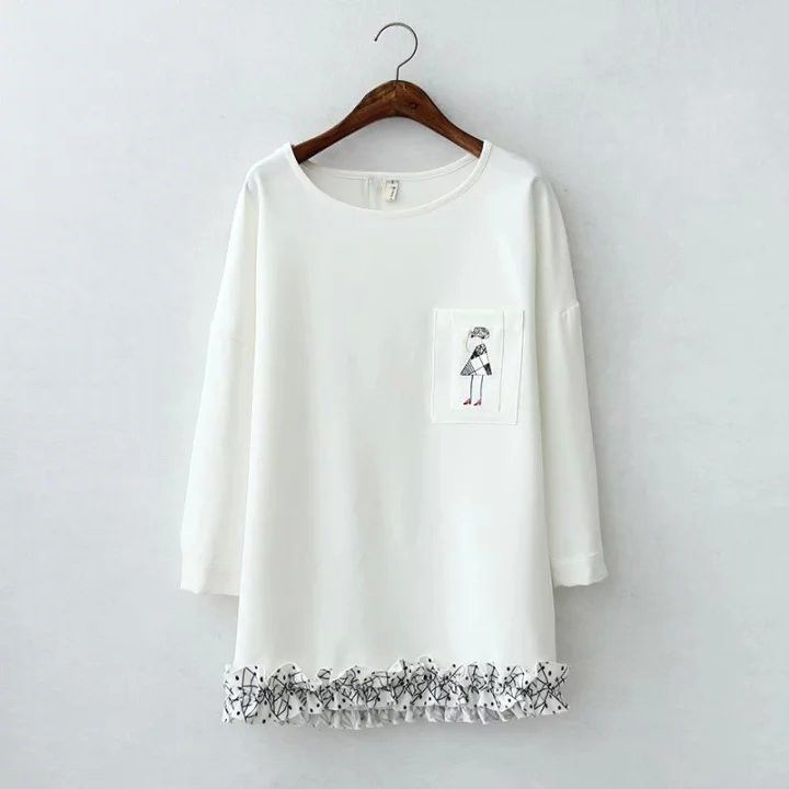 Fashion new Embroidery flounces women hoodies round neck long sleeve Medium and long hoodies