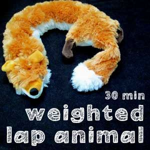 Weighted lap pad using a unstuffed chew toy!