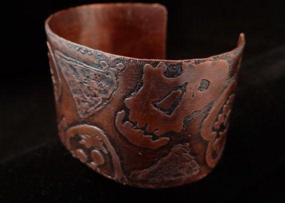 Cuff Bracelet Day of the Dead or Dia de Muertos by HummingBirdEggs