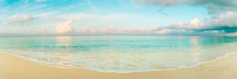 Waves on the Beach, Seven Mile Beach, Grand Cayman, Cayman Islands Fotografisk trykk av Panoramic Images hos AllPosters.no