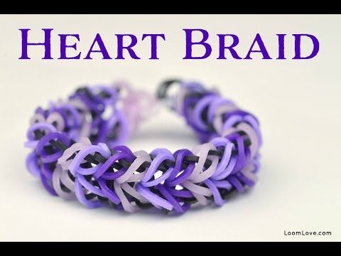 ▶ How to Make a Rainbow Loom Heart Braid Bracelet - YouTube