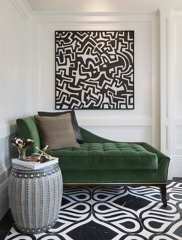 pinterest home decor living room%0A luxurious emerald velvetcovered chaise in otherwise black  u     white room   Master Bathroom    San Francisco Decorator Showcase    Tineke Triggs