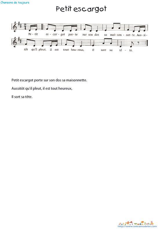 Imprimer la chanson - Parole petit escargot porte sur son dos ...