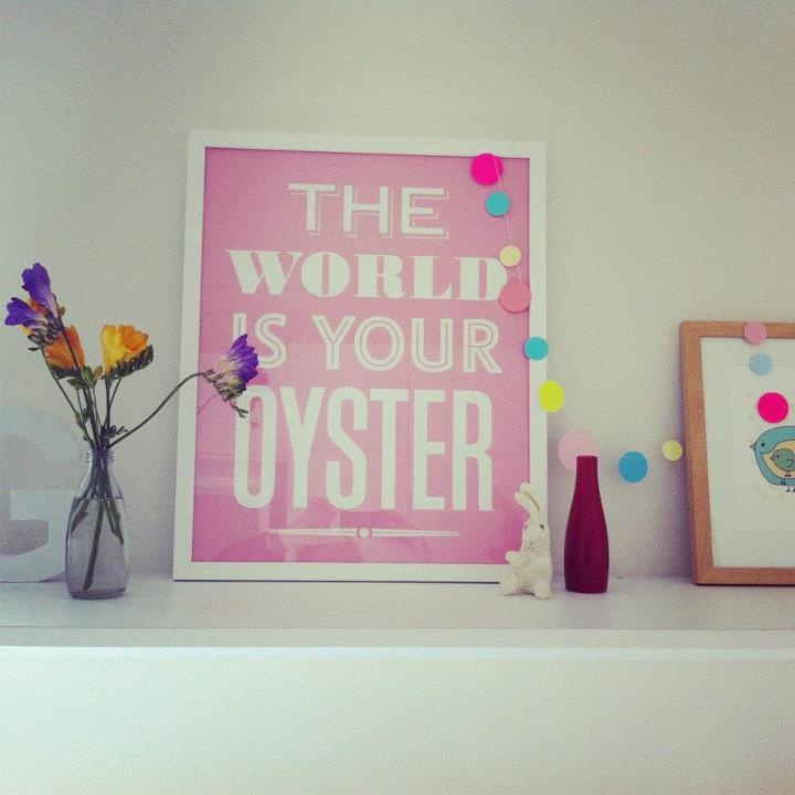 The World is Your Oyster print chilling in 3yo Georgia's bedroom, we love!