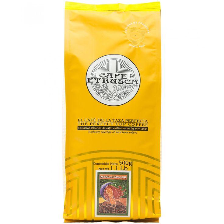 Café Etrusca descafeinado; una mezcla de cafés arábigos cultivados en las altas montañas mexicanas profesionalmente seleccionados para obtener un café con excelente aroma pronunciada acidez y cuerpo entero.