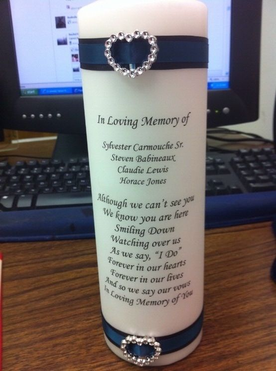 Where can I get this? Awesome and amazing! Both our dads could be recognized at our wedding, I want this sooooooooooo much! Remembering those who can't be there on your special day.