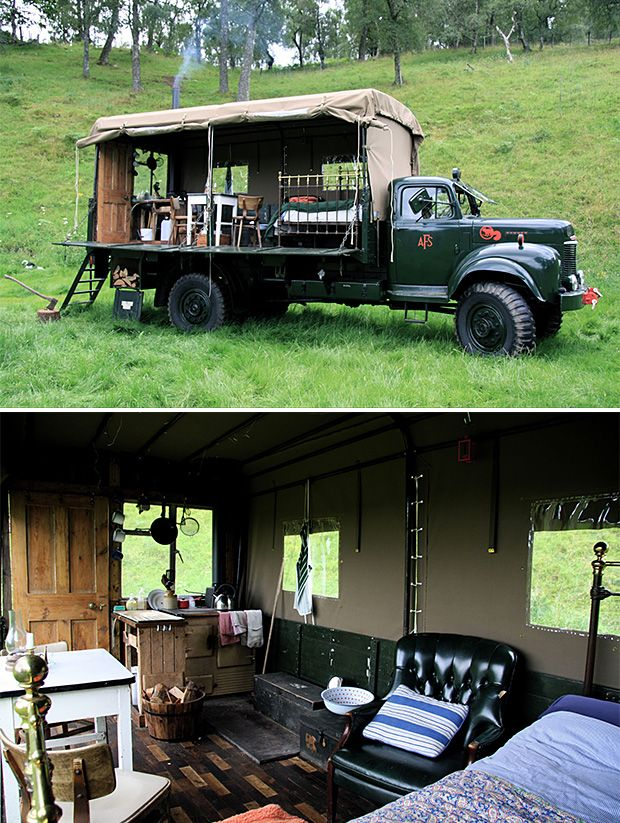 Instead of another tourist trap, go explore the Scottish highlands instead. While you're there, rent out the Beer Moth. It's a unique accommodation to say the least: a 1954 Commer Service truck converted into a hotel on wheels that can be moved all around the expansive estate grounds of Inshriach House near Inverness, Scotland.