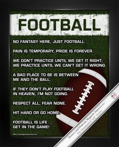 "Need football gift ideas? ""Football is life … get in the game!"" Daring sayings and rich colors make Football on Field Poster Print a cool gift for your football player or NFL fan. Transform your bare"