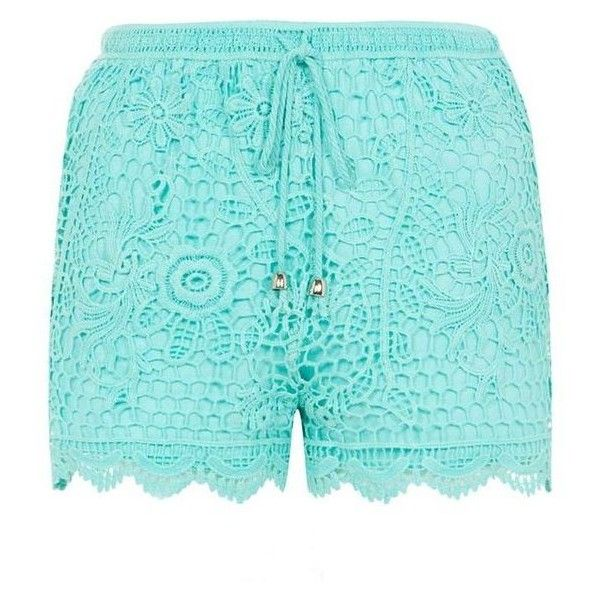 Mint Green Crochet Shorts ❤ liked on Polyvore featuring shorts, macrame shorts, crochet denim shorts, mint shorts, crochet shorts and denim shorts