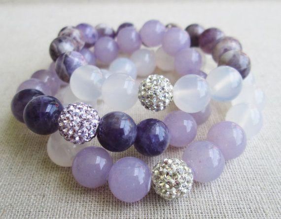 Love & Light: Royal Amethyst Beaded Stretch Bracelet Set