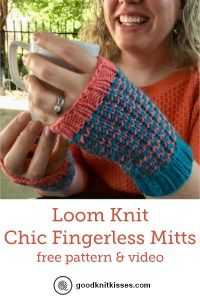 Loom Knit Chic Fingerless Mitts free pattern and video tutorial featuring Chic S…
