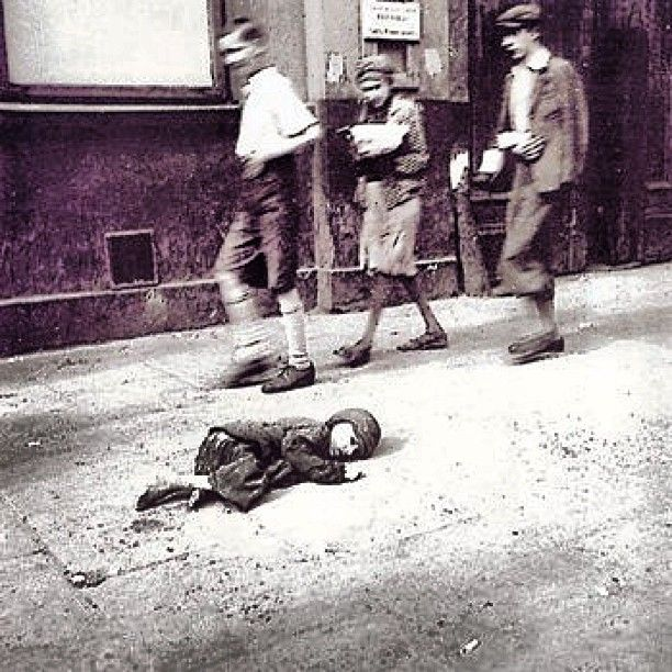 "This photo inside the ghetto of a dying child was taken illegally by Wehrmacht Sergeant Heinz Joest on Sept. 19, 1941. He spent his 43rd birthday illegally inside the ghetto taking pictures. A documentary about his day was made in 1991 titled ""A Day in the Warsaw Ghetto: A Birthday Trip in Hell."""
